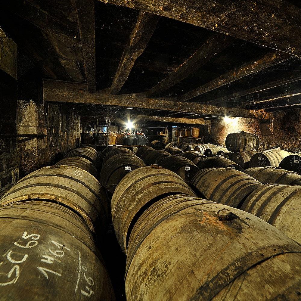 Alte Cognac-Fässer im Keller