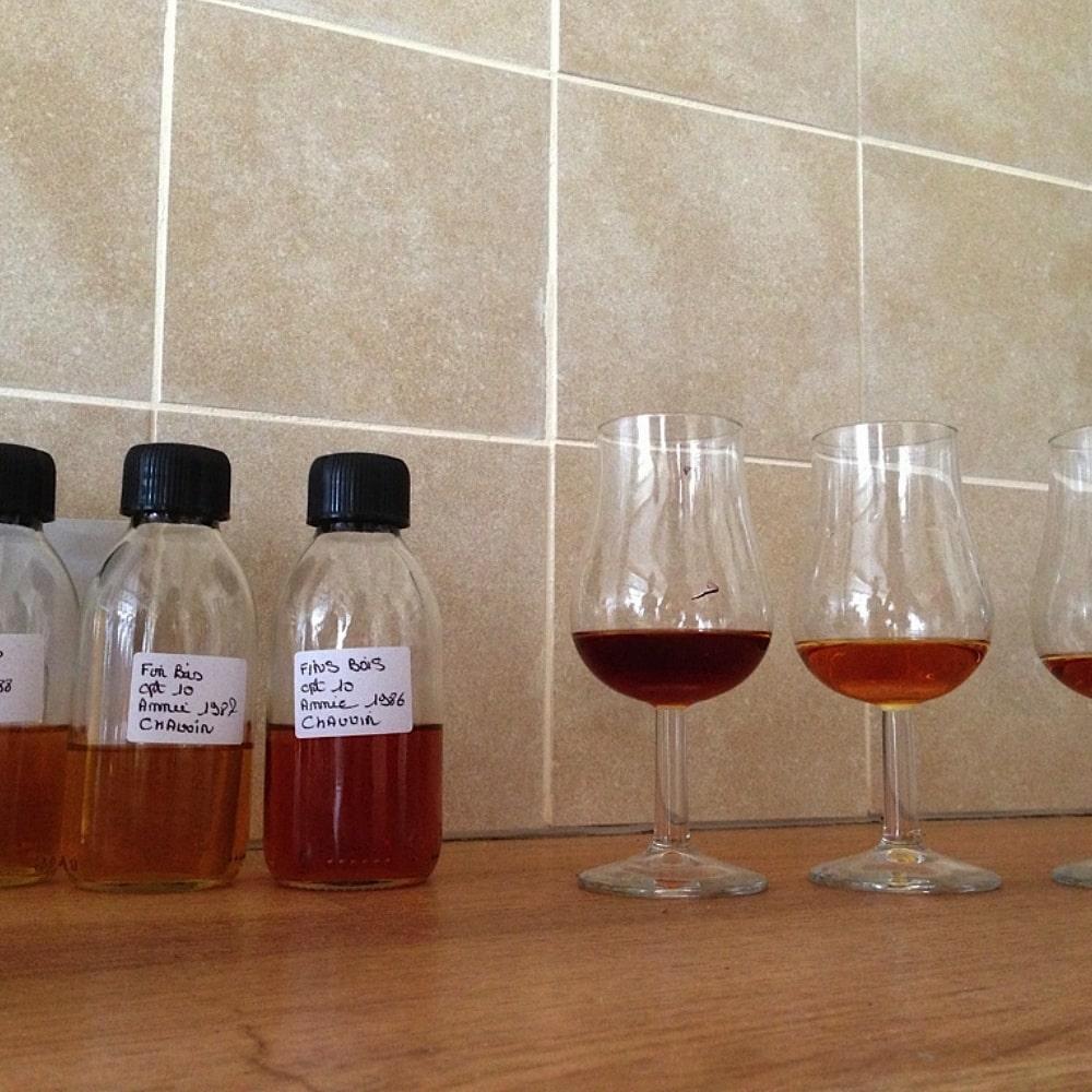 verschiedene Cognac-Farben in Proben und Gläsern